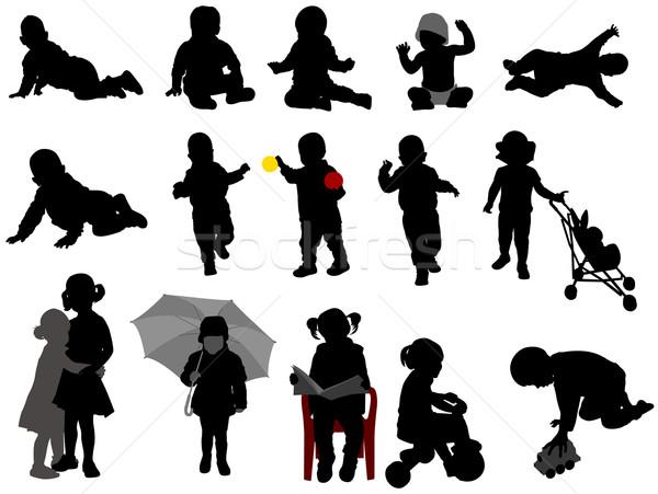 Bebekler çocuklar siluetleri toplama aile bebek Stok fotoğraf © bokica