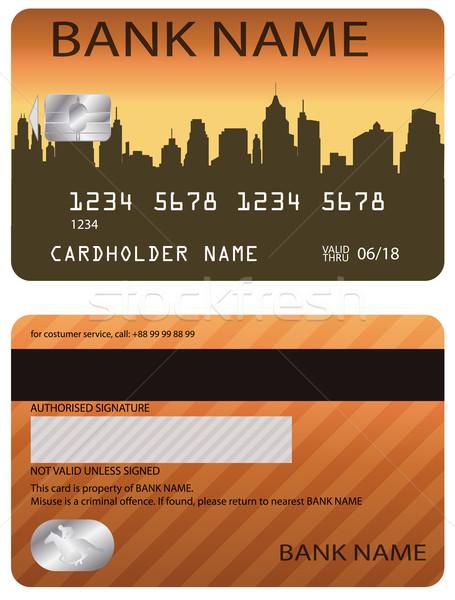 Creditcard kaart wereld goud financiële plastic Stockfoto © bokica