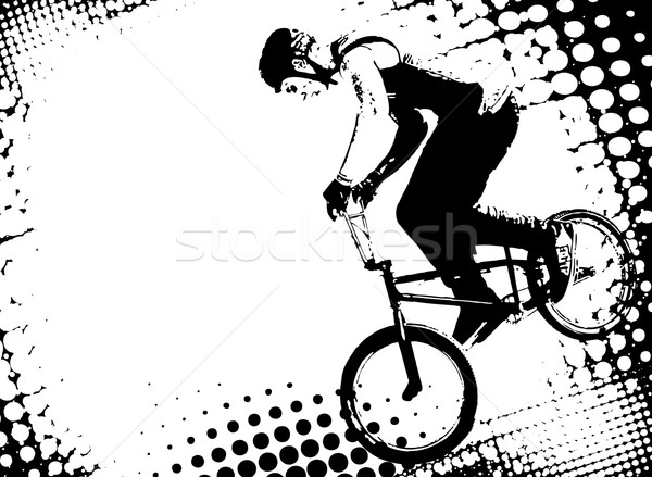 bmx cyclist on the abstract halftone background Stock photo © bokica