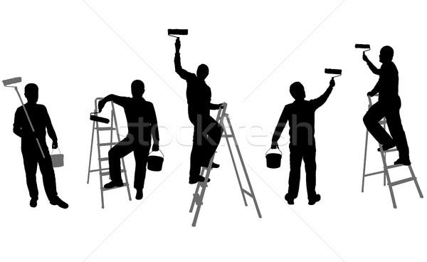Ház sziluettek férfi munkás sziluett óriásplakát Stock fotó © bokica