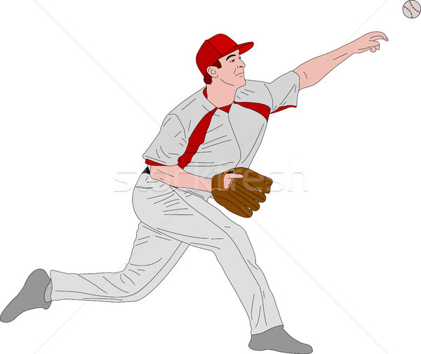 baseball pitcher, detailed illustration Stock photo © bokica