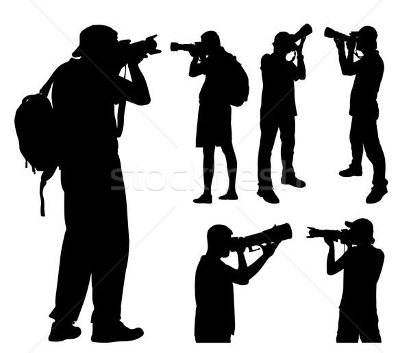 Teleobiektyw obiektyw sylwetki ciało mężczyzn worek Zdjęcia stock © bokica