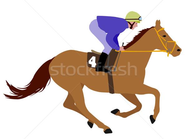 jockey riding race horse illustration 3 Stock photo © bokica