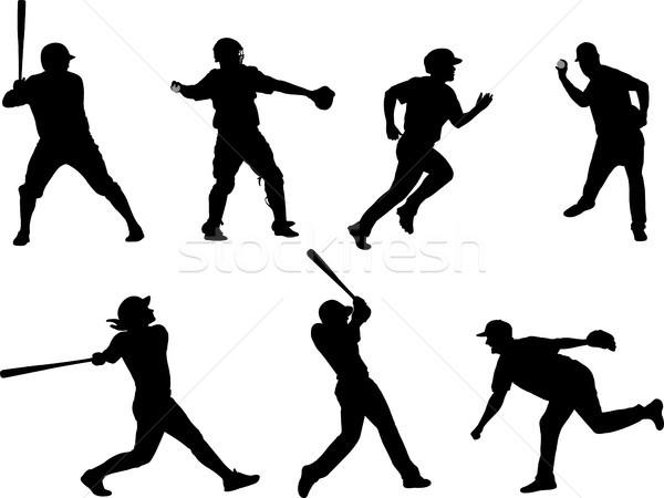 baseball silhouettes collection 6 Stock photo © bokica