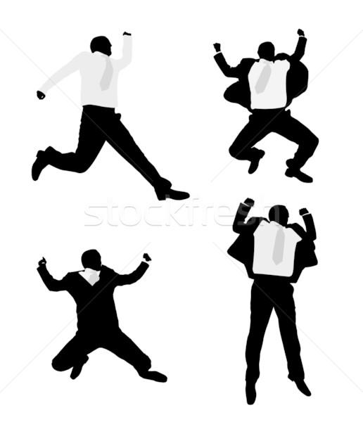 Opgewonden zakenlieden springen zakenman uitvoerende grappig Stockfoto © bokica