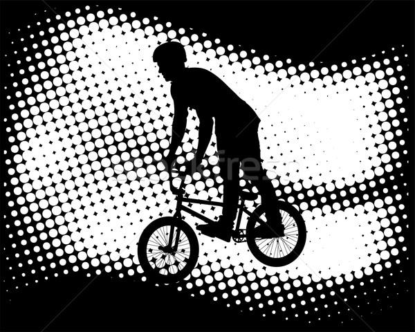 Fietser abstract halftoon sport straat ontwerp Stockfoto © bokica