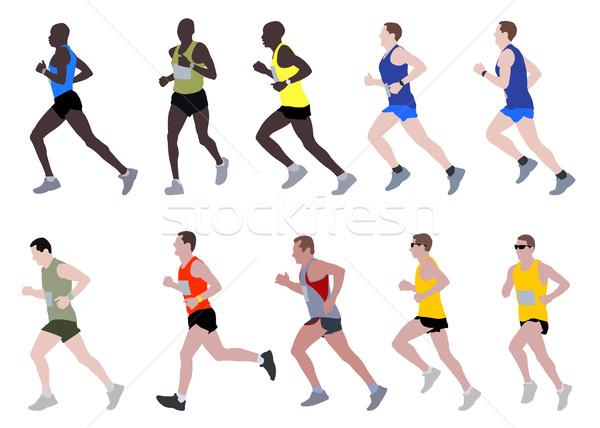 Maraton futók illusztráció út terv fitnessz Stock fotó © bokica