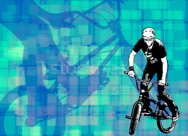 bmx stunt cyclist on the abstract background Stock photo © bokica