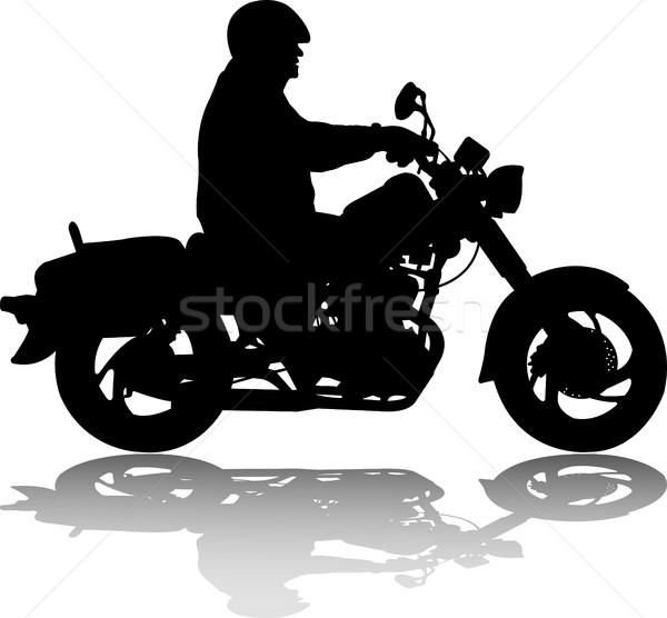Férfi lovaglás klasszikus klasszikus motorkerékpár sziluett Stock fotó © bokica