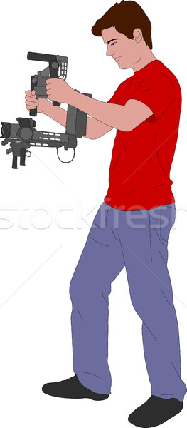 videographer with handheld steadycam illustration Stock photo © bokica