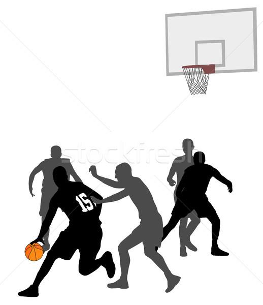 Kosárlabda játék sziluettek ugrás csapat labda Stock fotó © bokica