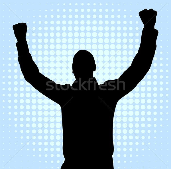 happy young man with hands up Stock photo © bokica