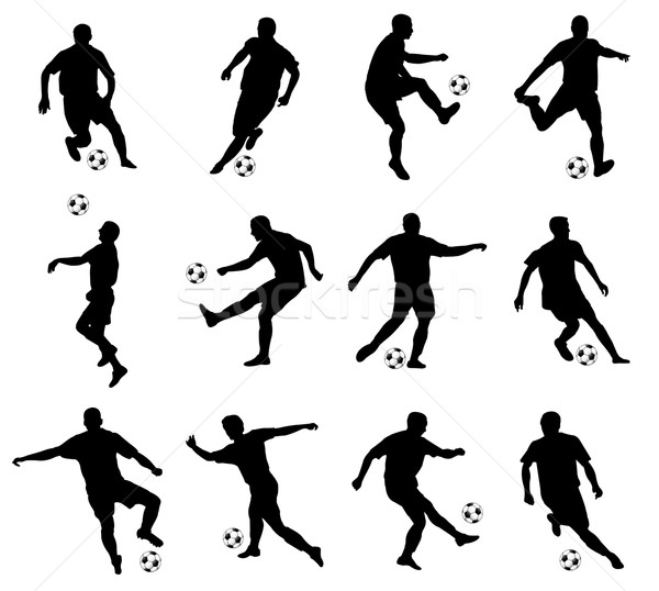 soccer players detailed silhouettes set Stock photo © bokica