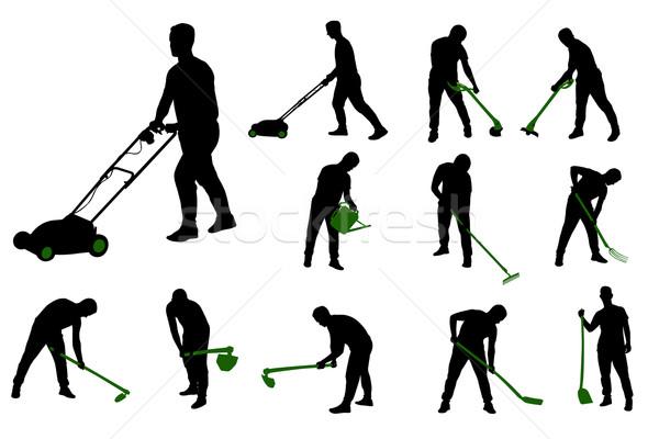 Tuinieren werk silhouetten gras silhouet baan Stockfoto © bokica