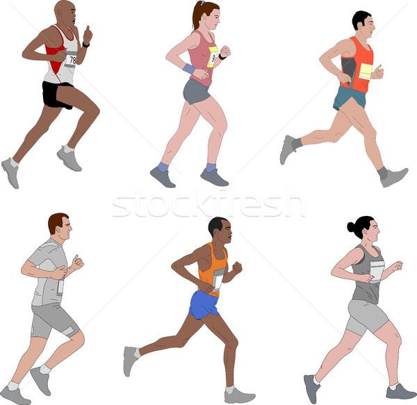runners,detailed illustration Stock photo © bokica