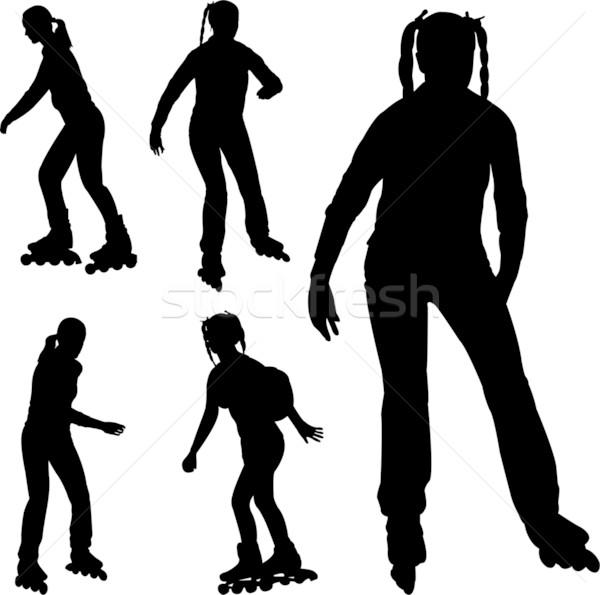 Silhouetten meisje sport schoenen teen snelheid Stockfoto © bokica