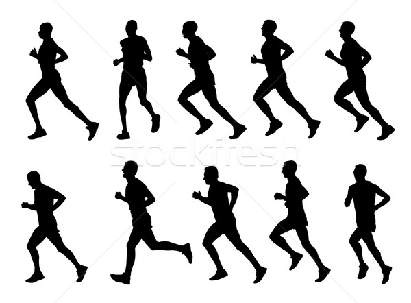 10 high quality marathon runners silhouettes Stock photo © bokica