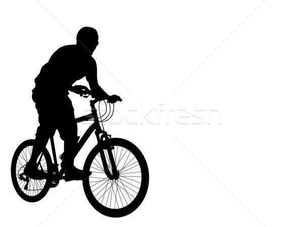 Kerékpáros sziluett kereszt hegy bicikli sebesség Stock fotó © bokica