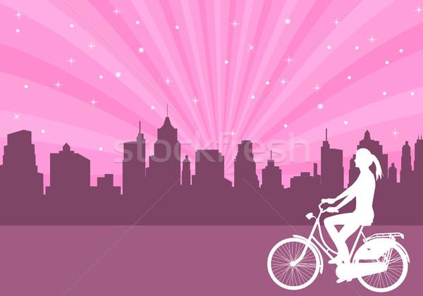 девушки верховая езда велосипед аннотация город женщину Сток-фото © bokica