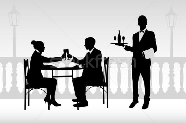 пару ресторан официант бизнеса девушки Сток-фото © bokica