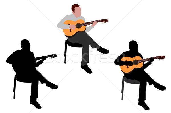 Man spelen akoestische gitaar illustratie muziek handen Stockfoto © bokica
