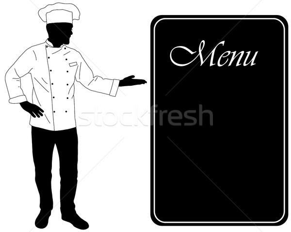 kitchen chef offers dinning menu silhouette Stock photo © bokica