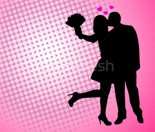 Pár szeretet absztrakt nő megbeszélés boldog Stock fotó © bokica
