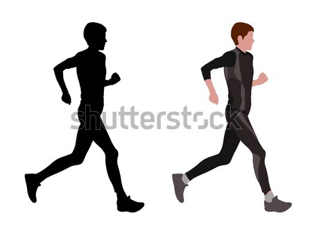 Stock photo: female marathon runner - vector