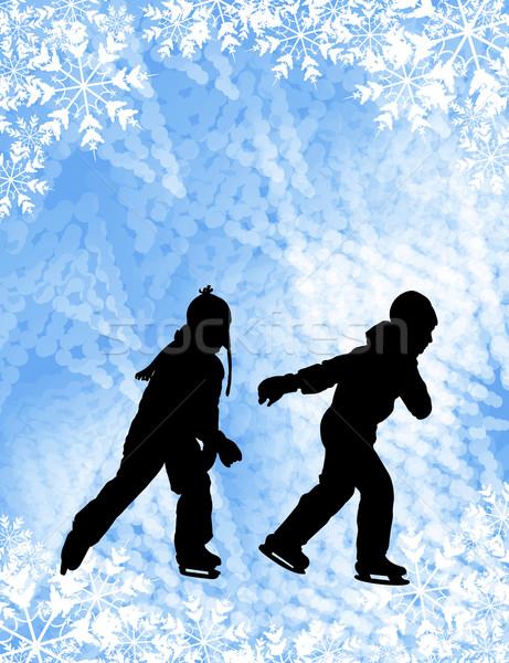 Stok fotoğraf: çocuklar · buz · pateni · siluetleri · soyut · çocuk · kar