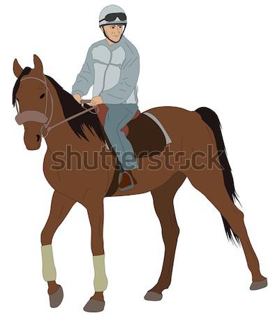 Nő lovaglás ló természet modell farm Stock fotó © bokica