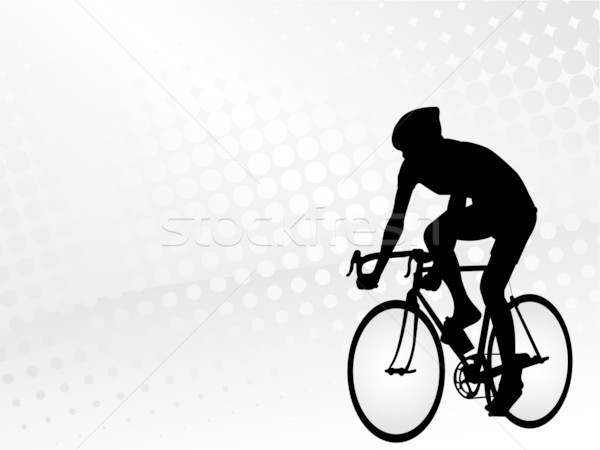 bicyclist on the abstract halftone background  Stock photo © bokica