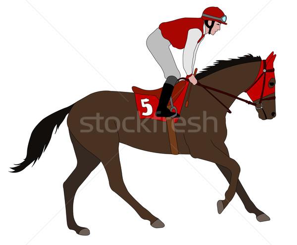 Jockey paardrijden race paard illustratie man Stockfoto © bokica