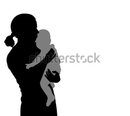 Anya tart baba sziluett nő család Stock fotó © bokica