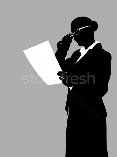 üzletasszony olvas jelentés iroda munka szépség Stock fotó © bokica