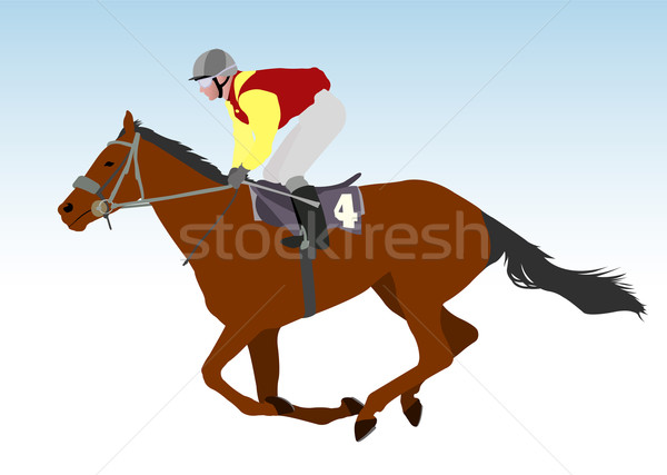 jockey riding race horse illustration Stock photo © bokica
