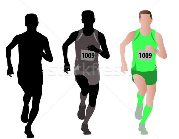 Maraton koşucu dizayn siluet kazanan hızlı Stok fotoğraf © bokica
