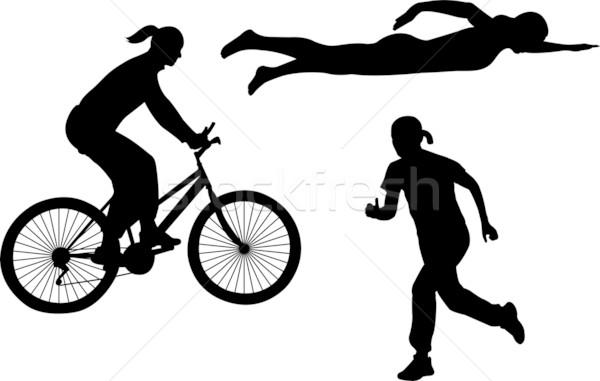 Triathlon silhuetas água estrada esportes corpo Foto stock © bokica