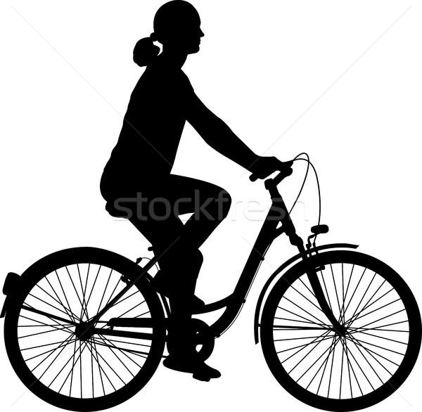 верховая езда велосипед силуэта женщину город Сток-фото © bokica
