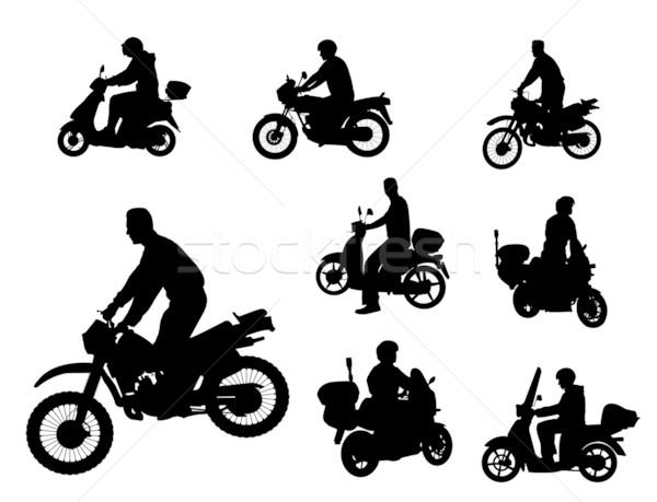 Sziluettek férfi test sebesség retro sziluett Stock fotó © bokica