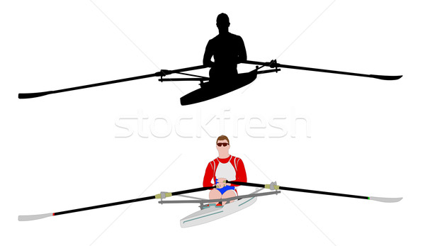 rower silhouette and illustration Stock photo © bokica
