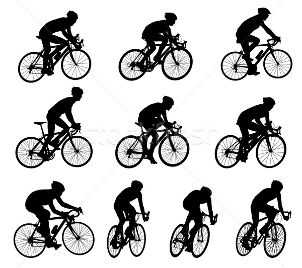 Stock photo: 10 high quality race bicyclists silhouettes