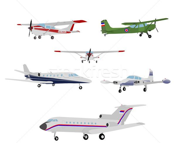 Repülőgépek illusztráció fény repülőgép retro klasszikus Stock fotó © bokica