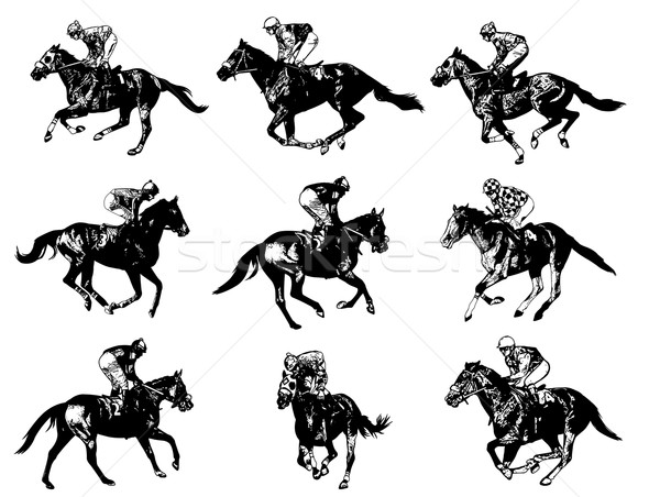 racing horses and jockeys illustration Stock photo © bokica
