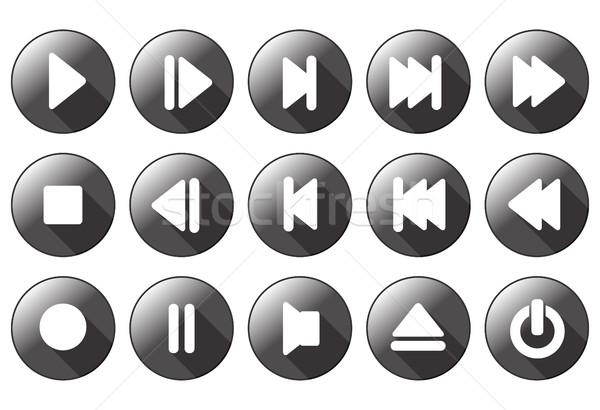 Proste multimedialnych przyciski technologii kluczowych dźwięku Zdjęcia stock © bokica