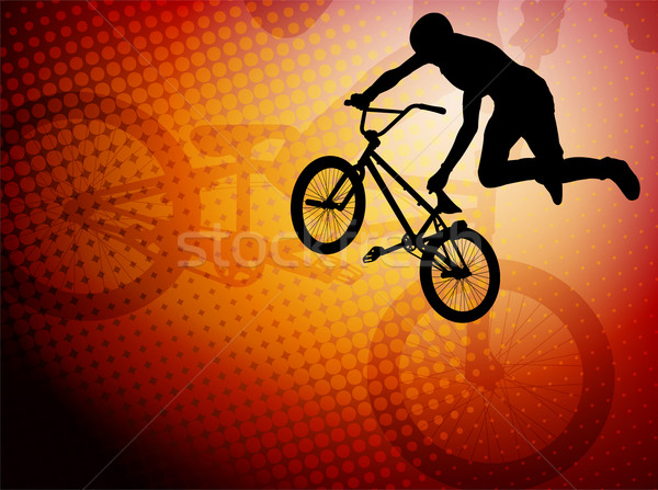 bmx stunt cyclist silhouette on the abstract background Stock photo © bokica