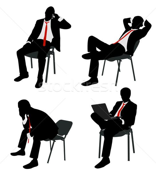 Zakenman vergadering stoel business laptop notebook Stockfoto © bokica
