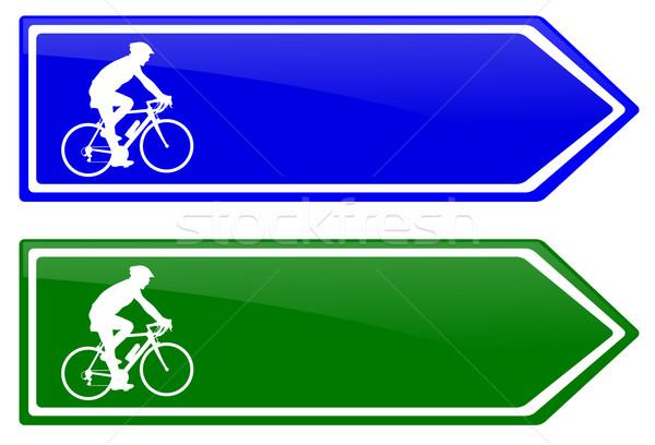 Bicikli sáv irányítás felirat sziluett tábla Stock fotó © bokica