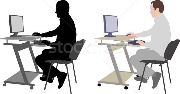 человека сидят компьютер бизнеса тело бизнесмен Сток-фото © bokica