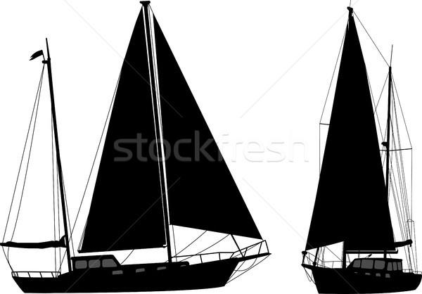 Zeilboot silhouetten water zee zomer golf Stockfoto © bokica