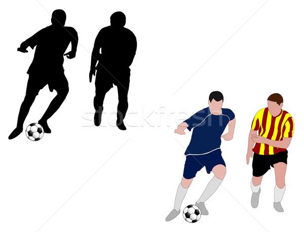 Voetbal spelers wereld voetbal mannen silhouet Stockfoto © bokica